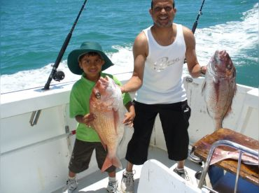 This little boys dream a big snapper for dinner