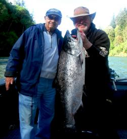 80 Yr. Young Don Schwartz with 31 lb. Rogue Spring Salmon