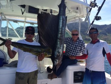 Mahi Mahi fish,  stripe and black marlin , sail fish throughout summer time.
