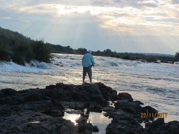 Fast water fly fishing at Deka