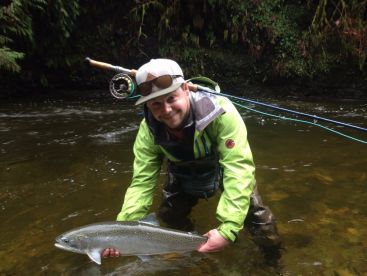 Fly fishing steelhead Vancouver Island