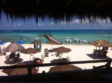 Our office.....!!!!! Playa del Carmen fishing snorkeling boats and wood dock at 14th st and beach