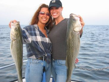 Lady anglers make up a large portion of our clientel Striped bass fishing is great.