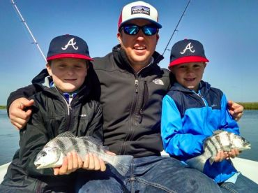 young anglers with black drum