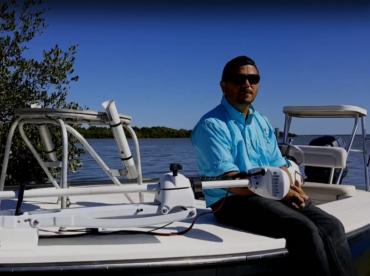 Captain Mark aboard his boat