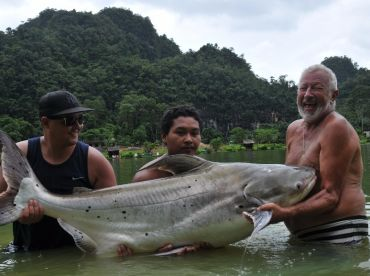 John Wilson with Monster Chao Phraya Catfish