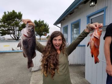 Happy customer with a couple of rockfish