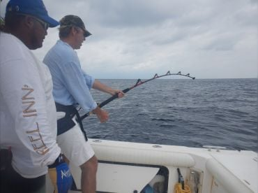 Hooked up to a Giant Yellowfin Tuna