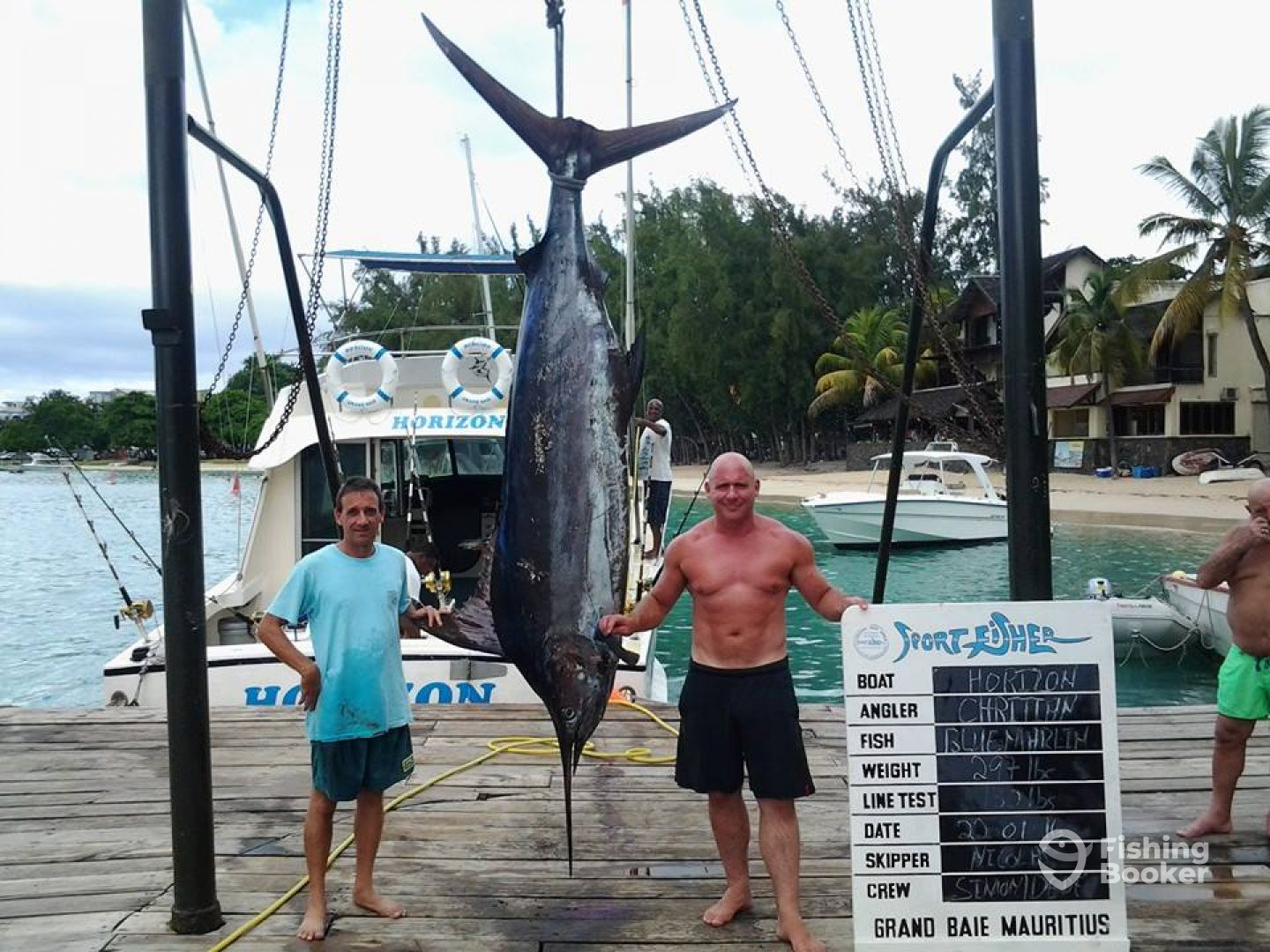 My friend Christian with his first 300 pound blue marlin