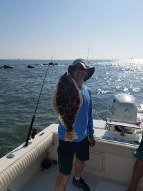 Mike with his flounder.