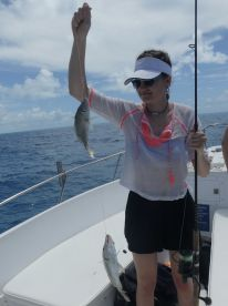 Molly with a yellowtail snapper
