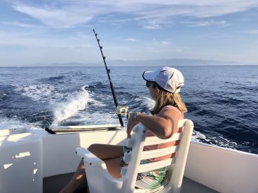 Bibi waiting for her blue marlin