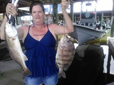 Tammy with nice Redfish and Sheepshead