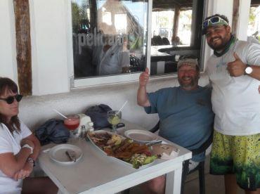 Fresh fish dinner at Pelicanos Restaurant