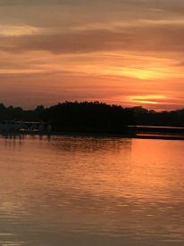 Beautiful sunrise on boat