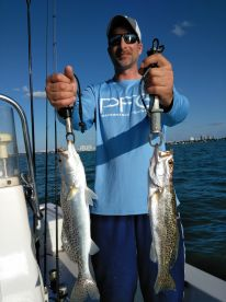 2 beautiful speckled sea trout caught by Sean