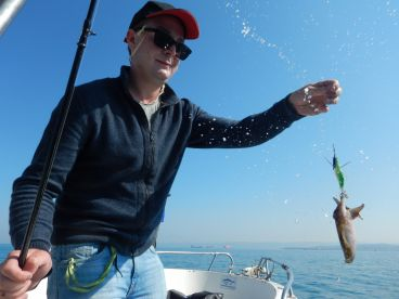 Sea fishing trip with Peter.