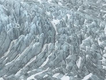 Flight over double glacier