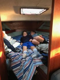 The boys enjoying Captain's quarters