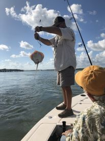 Captain Mike releasing the stingray